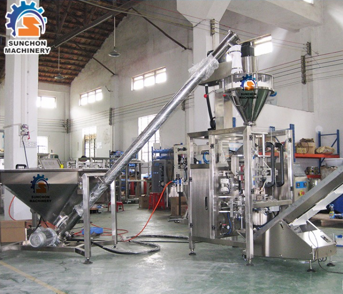 Flour / Wheat / Detergent Powder Automated Packing Machine With Colorful Touch Screen Control
