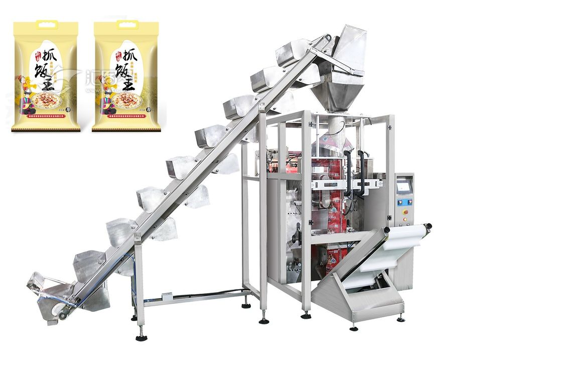 Rice / Pet Foods Packaging Machine With Lifting Conveyor Fast Speed 5 - 60 Bags / Min supplier