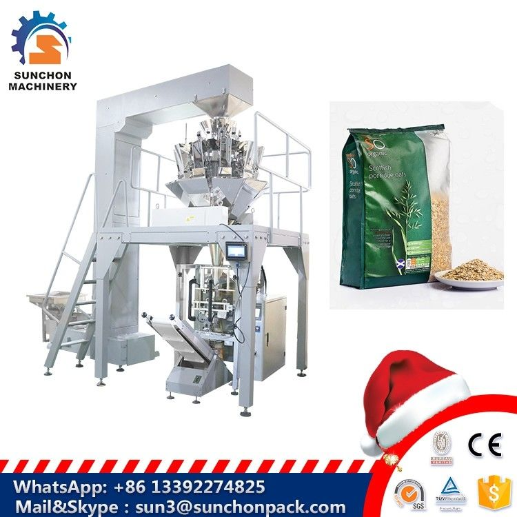 Grain / Granule Automated Packing Machine With Multi Head Weigher For Oatmeal / Cornmeal