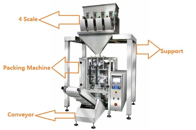 1KG Sugar / 1KG Rice Grain Packing Machine With 4 Linear Weigher supplier