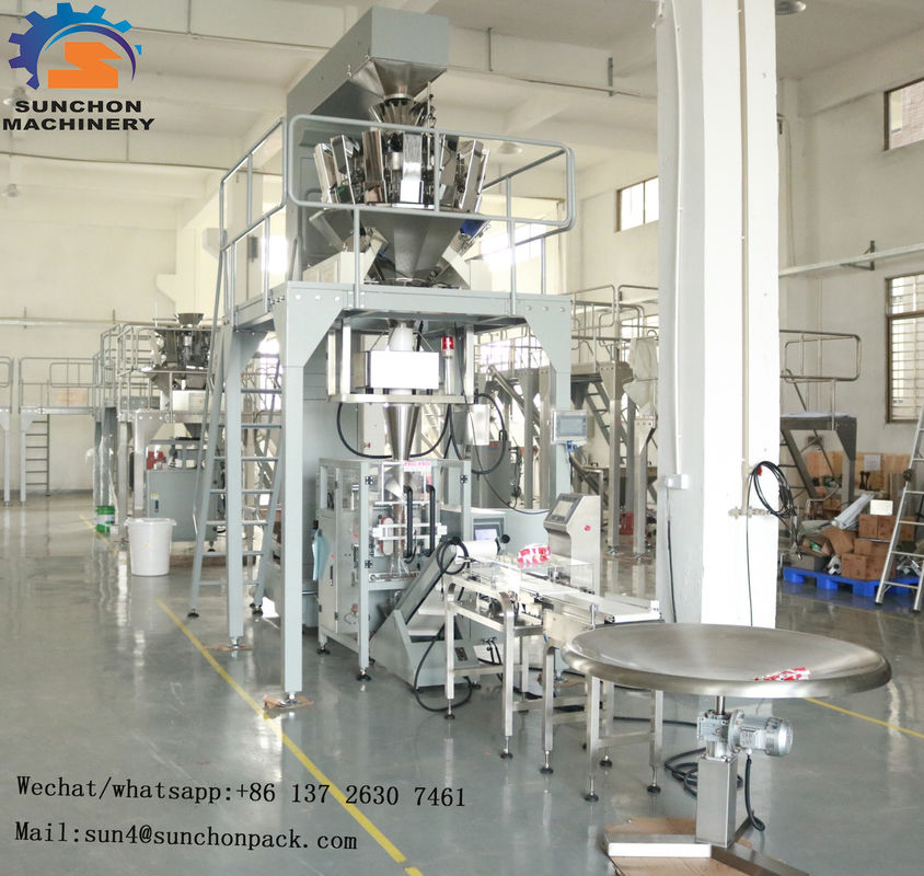 Food Grain Chips Rice Snack Nut Sugar Automatic Packaging Machine With PLC + Touch Screen supplier