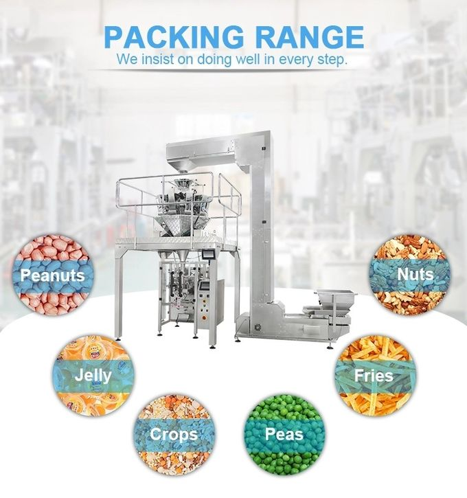 Food Grain Chips Rice Snack Nut Sugar Automatic Packaging Machine With PLC + Touch Screen